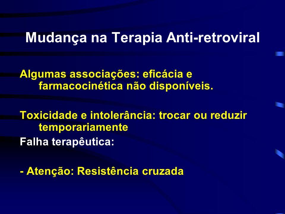 Mudança na Terapia Anti-retroviral Algumas associações: eficácia e farmacocinética não disponíveis. Toxicidade e intolerância: trocar ou reduzir tempo