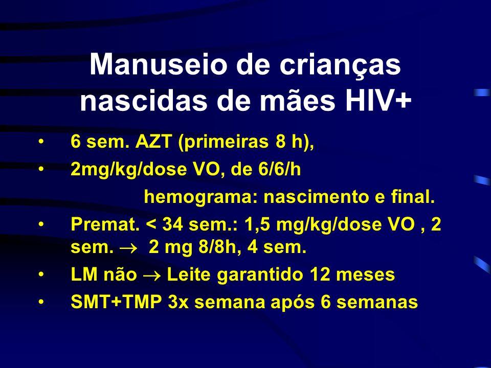 Manuseio de crianças nascidas de mães HIV+ 6 sem. AZT (primeiras 8 h), 2mg/kg/dose VO, de 6/6/h hemograma: nascimento e final. Premat. < 34 sem.: 1,5