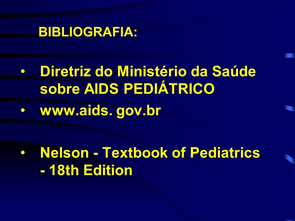 BIBLIOGRAFIA: Diretriz do Ministério da Saúde sobre AIDS PEDIÁTRICO www.aids. gov.br Nelson - Textbook of Pediatrics - 18th Edition