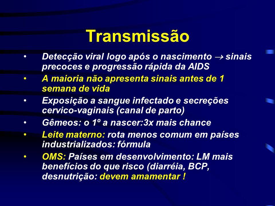 Transmissão Detecção viral logo após o nascimento sinais precoces e progressão rápida da AIDS A maioria não apresenta sinais antes de 1 semana de vida