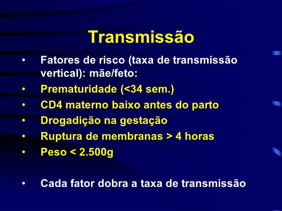 Transmissão Fatores de risco (taxa de transmissão vertical): mãe/feto: Prematuridade (<34 sem.) CD4 materno baixo antes do parto Drogadição na gestaçã