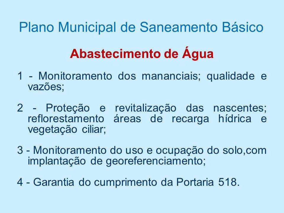 Câmara Técnica de Saneamento - Conselho de Meio Ambiente Teresópolis Recomendações técnicas Plano Municipal de Saneamento Básico Plano Municipal de Sa
