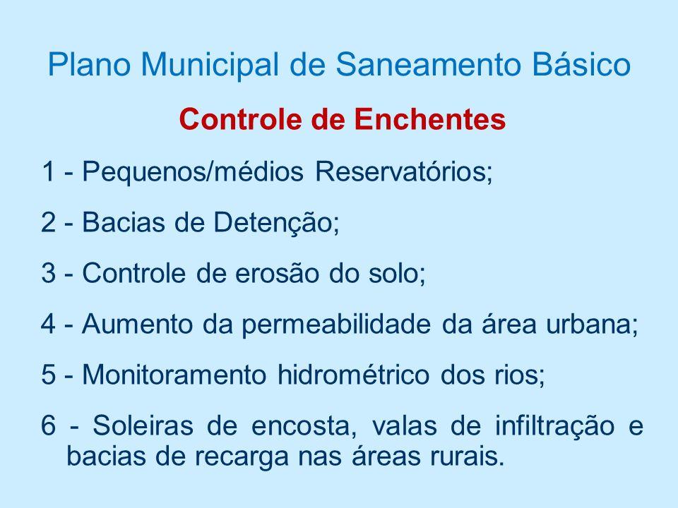 Plano Municipal de Saneamento Básico Controle de Enchentes 1 - Pequenos/médios Reservatórios; 2 - Bacias de Detenção; 3 - Controle de erosão do solo; 4 - Aumento da permeabilidade da área urbana; 5 - Monitoramento hidrométrico dos rios; 6 - Soleiras de encosta, valas de infiltração e bacias de recarga nas áreas rurais.