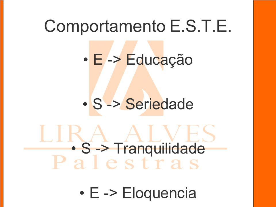 Comportamento E.S.T.E. E -> Educação S -> Seriedade S -> Tranquilidade E -> Eloquencia