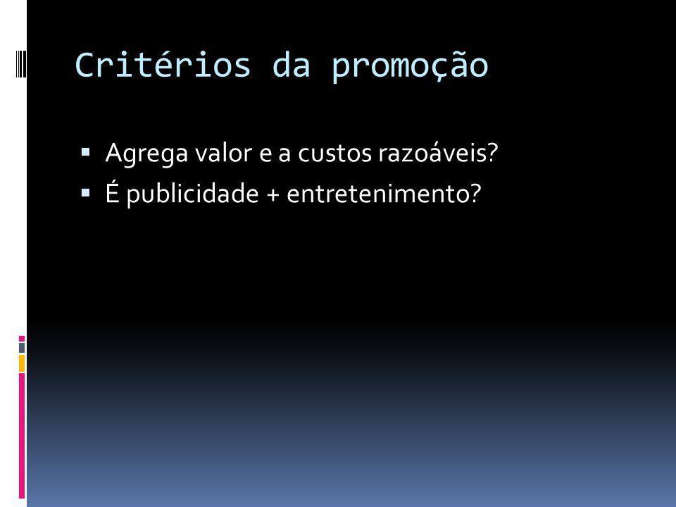 Critérios da promoção Agrega valor e a custos razoáveis É publicidade + entretenimento