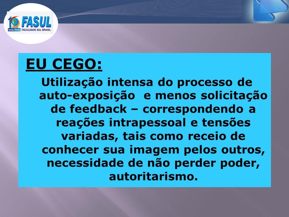 EU CEGO: Utilização intensa do processo de auto-exposição e menos solicitação de feedback – correspondendo a reações intrapessoal e tensões variadas,