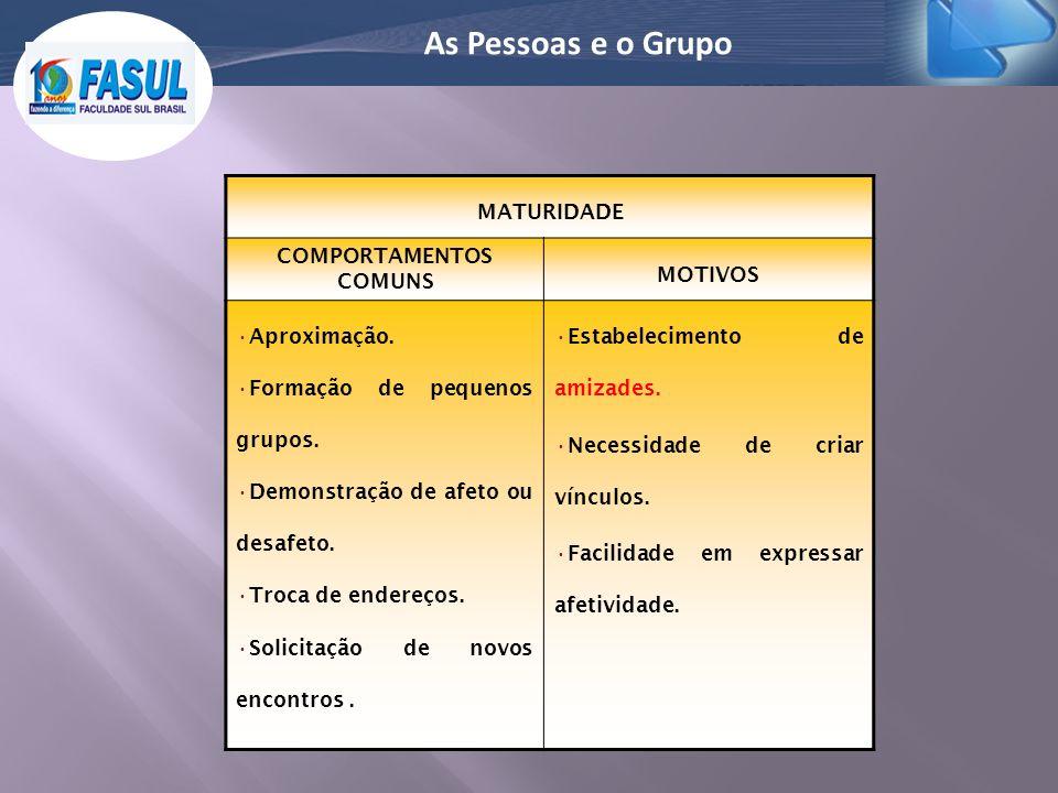 As Pessoas e o Grupo MATURIDADE COMPORTAMENTOS COMUNS MOTIVOS Aproximação. Formação de pequenos grupos. Demonstração de afeto ou desafeto. Troca de en