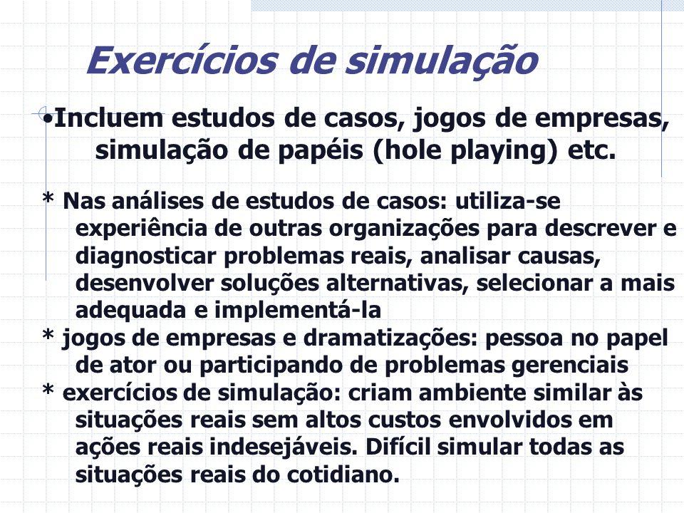 Exercícios de simulação Incluem estudos de casos, jogos de empresas, simulação de papéis (hole playing) etc. * Nas análises de estudos de casos: utili