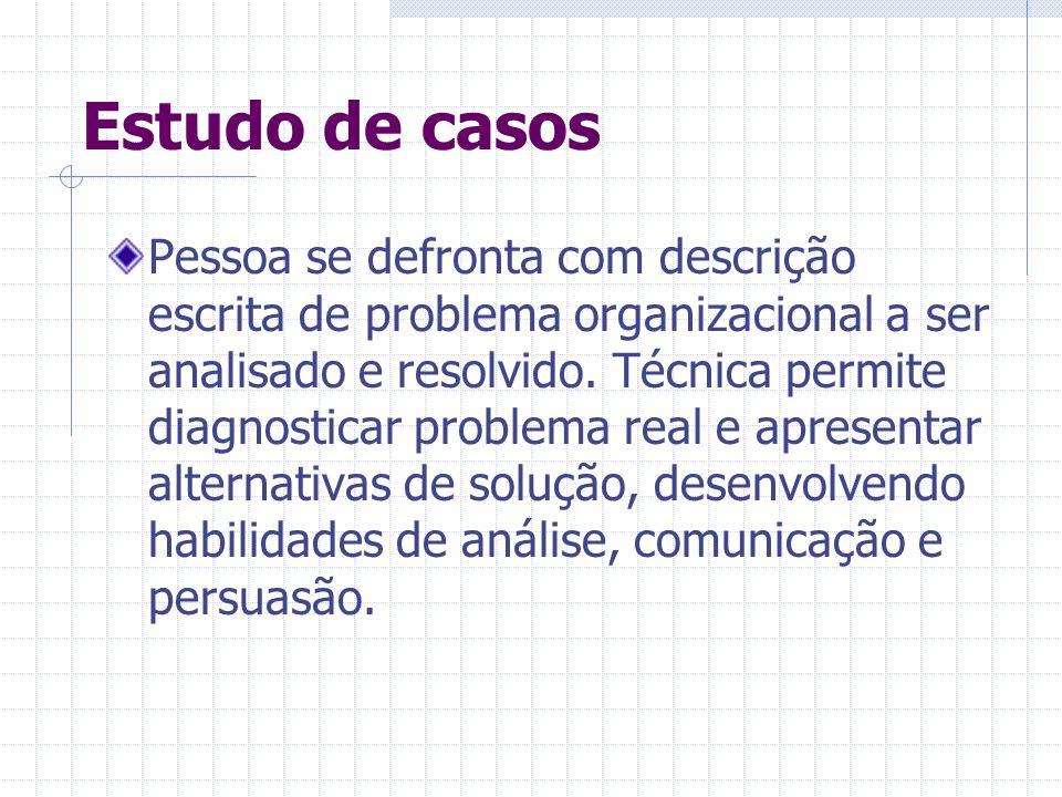 Estudo de casos Pessoa se defronta com descrição escrita de problema organizacional a ser analisado e resolvido. Técnica permite diagnosticar problema