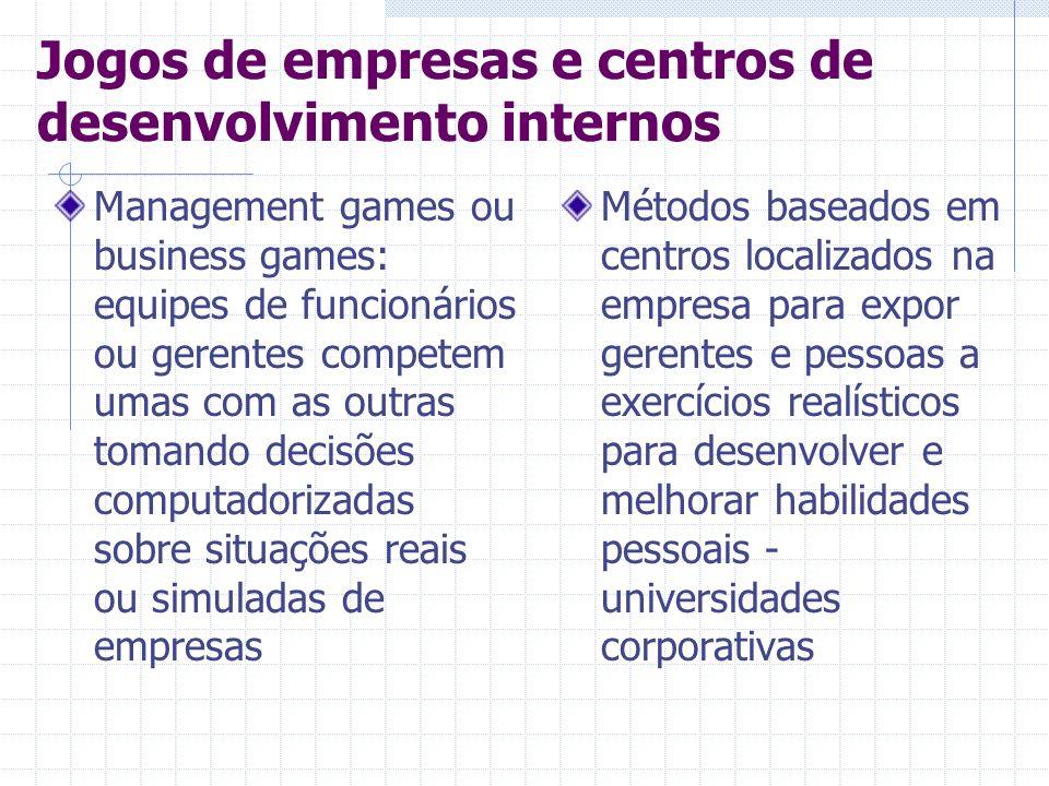 Jogos de empresas e centros de desenvolvimento internos Management games ou business games: equipes de funcionários ou gerentes competem umas com as o