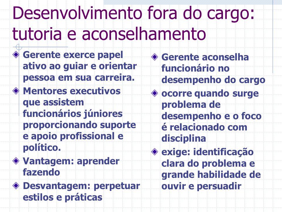 Desenvolvimento fora do cargo: tutoria e aconselhamento Gerente exerce papel ativo ao guiar e orientar pessoa em sua carreira. Mentores executivos que