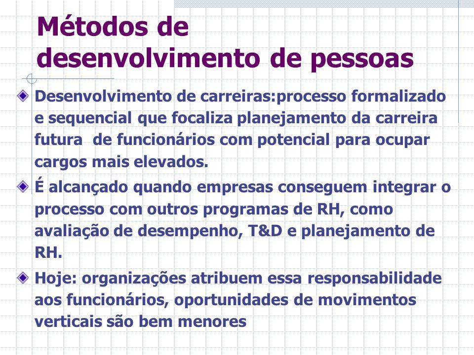 Métodos de desenvolvimento de pessoas Desenvolvimento de carreiras:processo formalizado e sequencial que focaliza planejamento da carreira futura de f