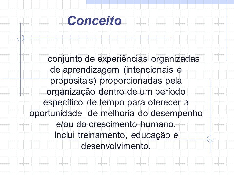Conceito conjunto de experiências organizadas de aprendizagem (intencionais e propositais) proporcionadas pela organização dentro de um período especí