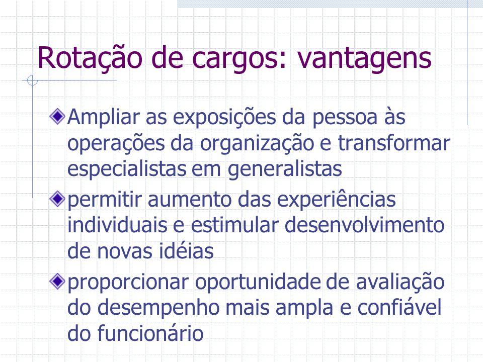 Rotação de cargos: vantagens Ampliar as exposições da pessoa às operações da organização e transformar especialistas em generalistas permitir aumento