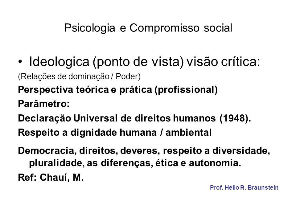 Psicologia e Compromisso social Ideologica (ponto de vista) visão crítica: (Relações de dominação / Poder) Perspectiva teórica e prática (profissional