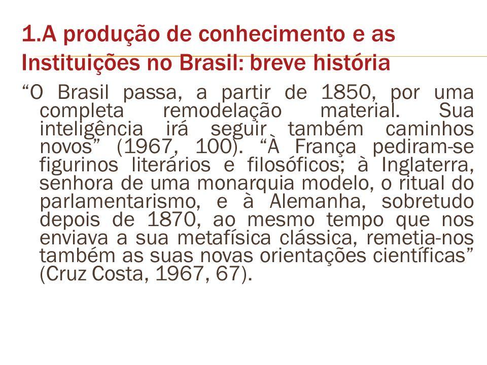 1.A produção de conhecimento e as Instituições no Brasil: breve história O Brasil passa, a partir de 1850, por uma completa remodelação material. Sua