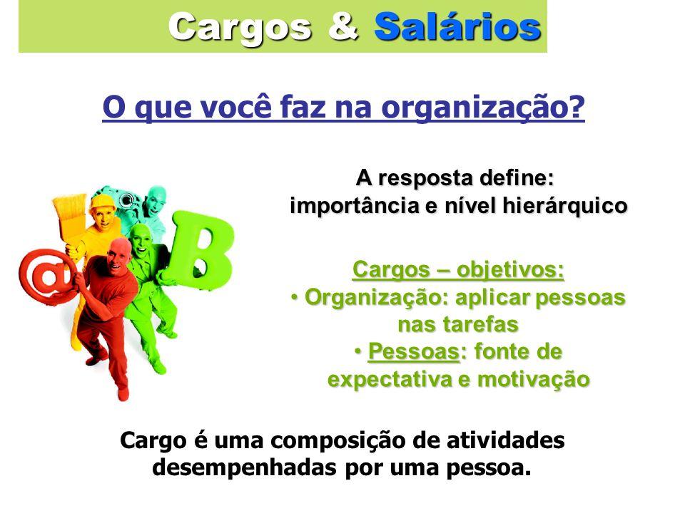 A resposta define: importância e nível hierárquico importância e nível hierárquico Cargo é uma composição de atividades desempenhadas por uma pessoa.