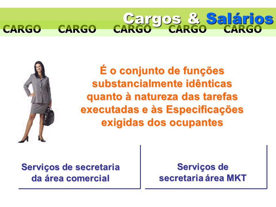 CARGOCARGOCARGOCARGOCARGO Serviços de secretaria da área comercial Serviços de secretaria área MKT Cargos & Salários É o conjunto de funções substanci