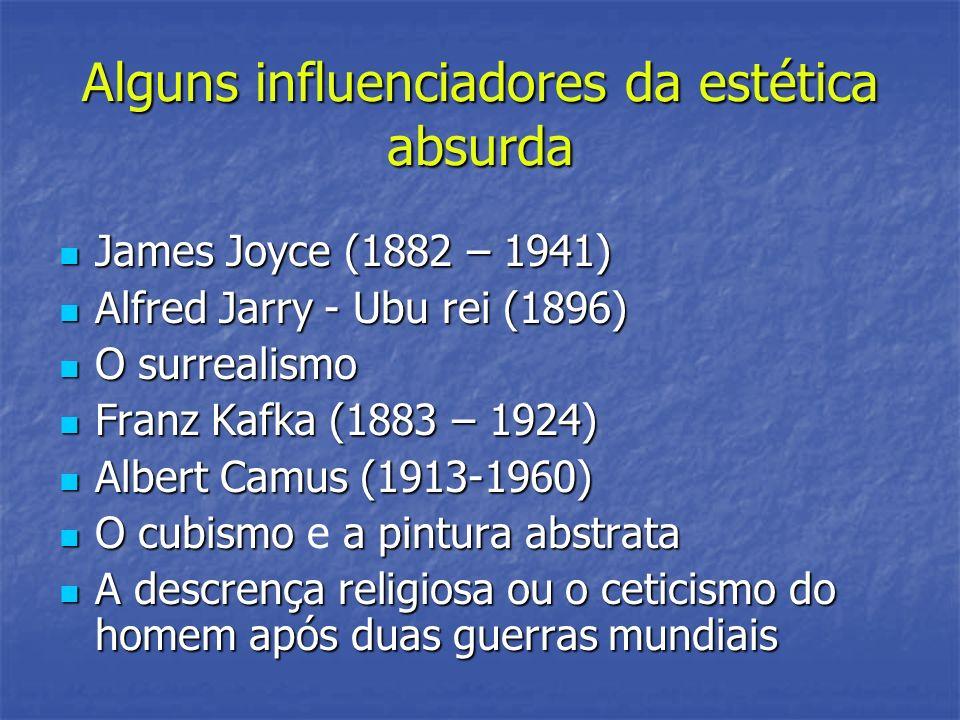 Alguns influenciadores da estética absurda James Joyce (1882 – 1941) James Joyce (1882 – 1941) Alfred Jarry - Ubu rei (1896) Alfred Jarry - Ubu rei (1