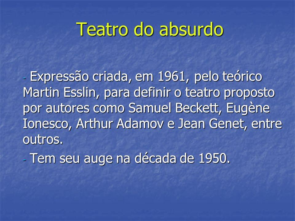 Teatro do absurdo - Expressão criada, em 1961, pelo teórico Martin Esslin, para definir o teatro proposto por autores como Samuel Beckett, Eugène Ione