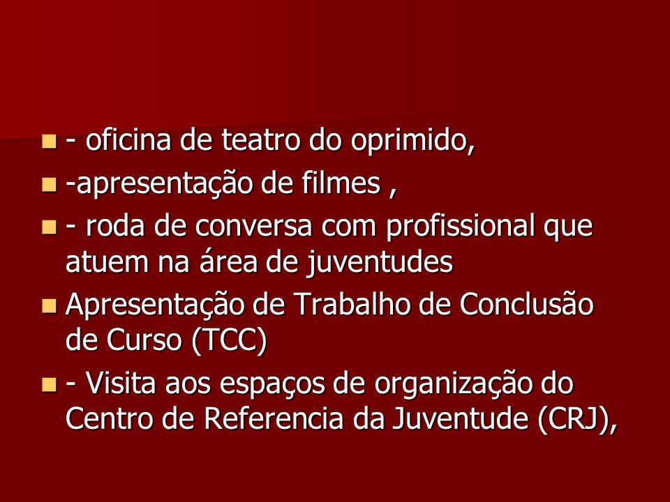 - oficina de teatro do oprimido, - oficina de teatro do oprimido, -apresentação de filmes, -apresentação de filmes, - roda de conversa com profissiona
