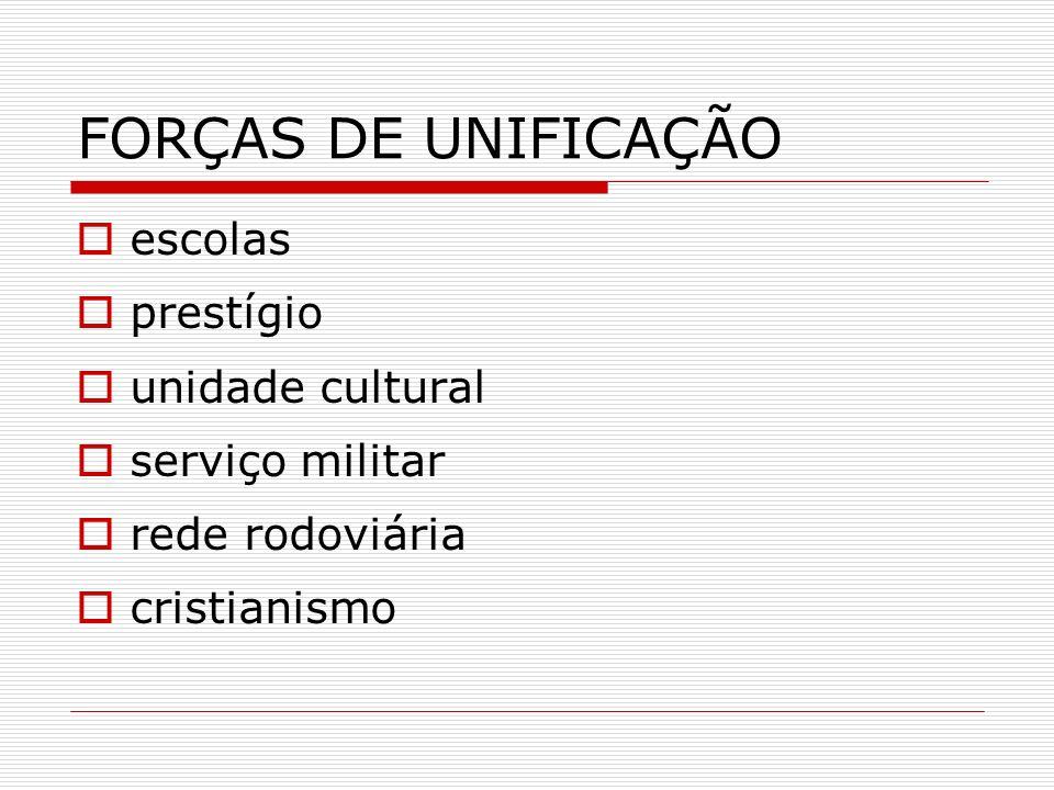 FORÇAS DE UNIFICAÇÃO escolas prestígio unidade cultural serviço militar rede rodoviária cristianismo