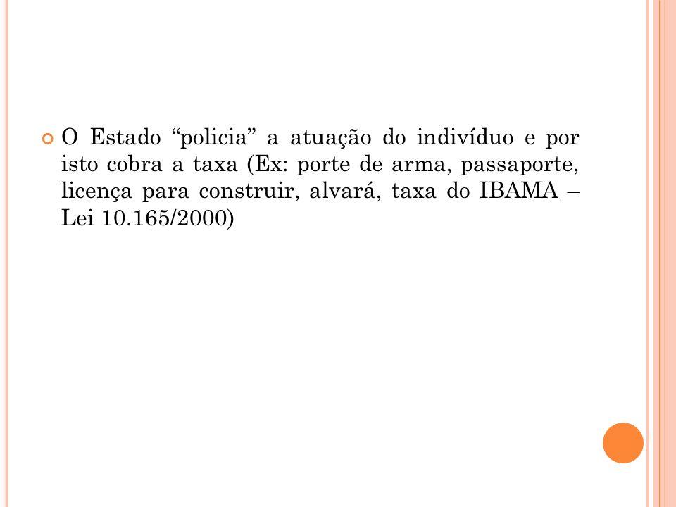 O Estado policia a atuação do indivíduo e por isto cobra a taxa (Ex: porte de arma, passaporte, licença para construir, alvará, taxa do IBAMA – Lei 10