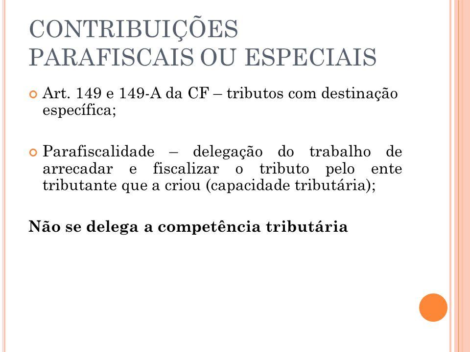 CONTRIBUIÇÕES PARAFISCAIS OU ESPECIAIS Art. 149 e 149-A da CF – tributos com destinação específica; Parafiscalidade – delegação do trabalho de arrecad