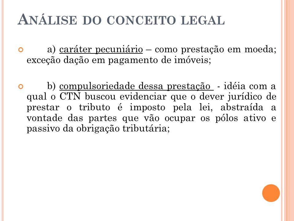 A NÁLISE DO CONCEITO LEGAL a) caráter pecuniário – como prestação em moeda; exceção dação em pagamento de imóveis; b) compulsoriedade dessa prestação