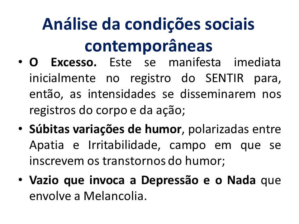 Análise da condições sociais contemporâneas O Excesso. Este se manifesta imediata inicialmente no registro do SENTIR para, então, as intensidades se d