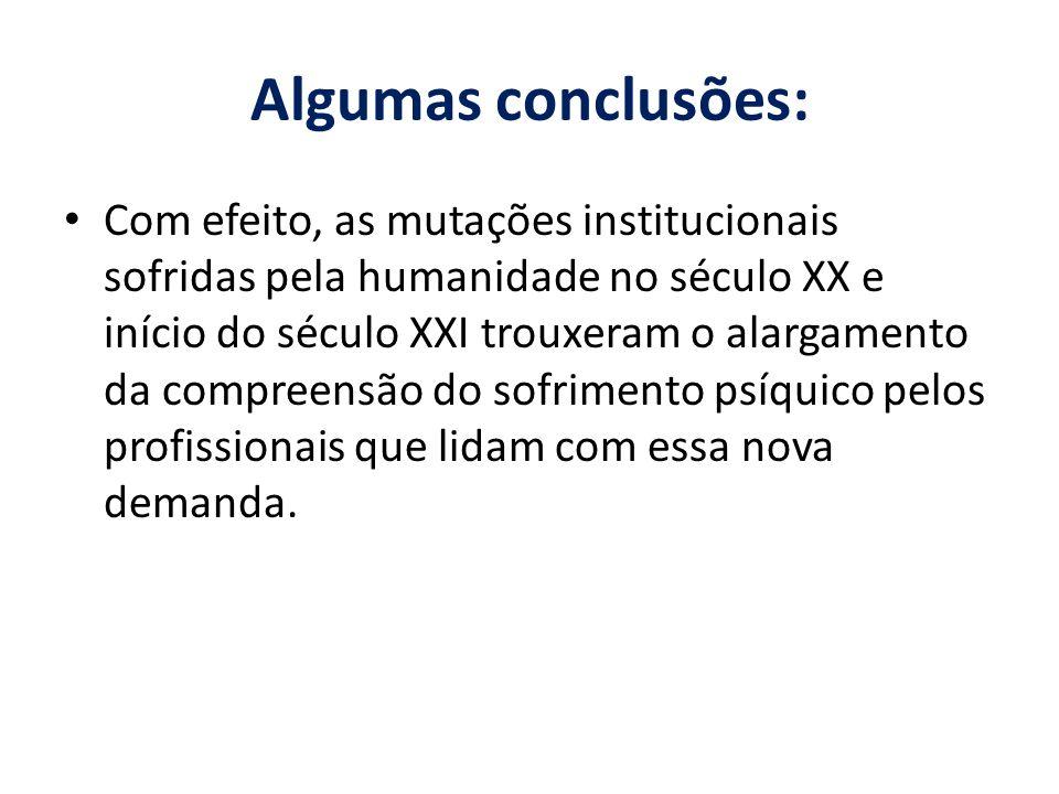 Algumas conclusões: Com efeito, as mutações institucionais sofridas pela humanidade no século XX e início do século XXI trouxeram o alargamento da com