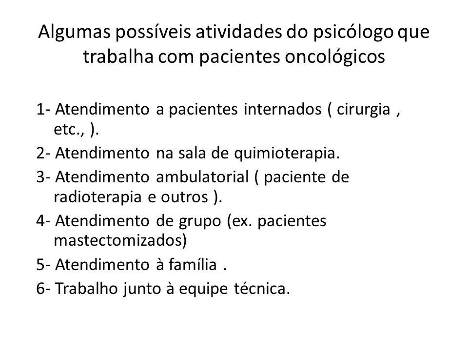 Algumas possíveis atividades do psicólogo que trabalha com pacientes oncológicos 1- Atendimento a pacientes internados ( cirurgia, etc., ). 2- Atendim
