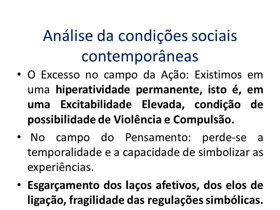 Análise da condições sociais contemporâneas O Excesso no campo da Ação: Existimos em uma hiperatividade permanente, isto é, em uma Excitabilidade Elev