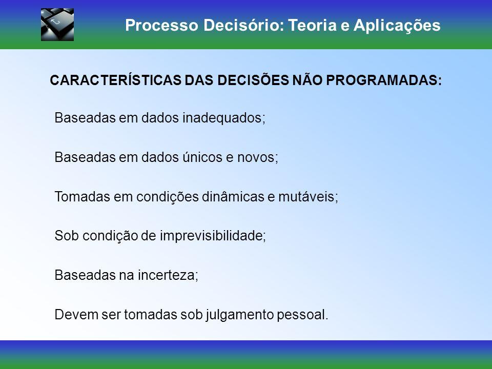 Processo Decisório: Teoria e Aplicações Destina-se a problemas incomuns ou excepcionais. DECISÕES NÃO PROGRAMADAS Soluções específicas criadas através