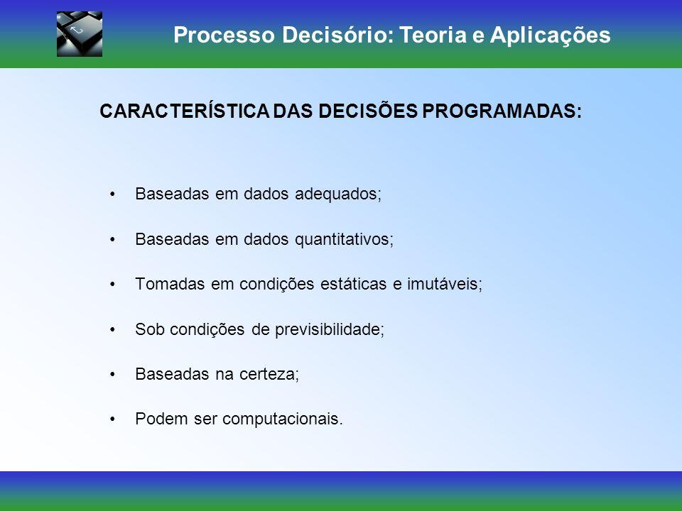 Processo Decisório: Teoria e Aplicações São tomadas de acordo com políticas, procedimentos ou regras escritas ou não, limitando ou excluindo alternati