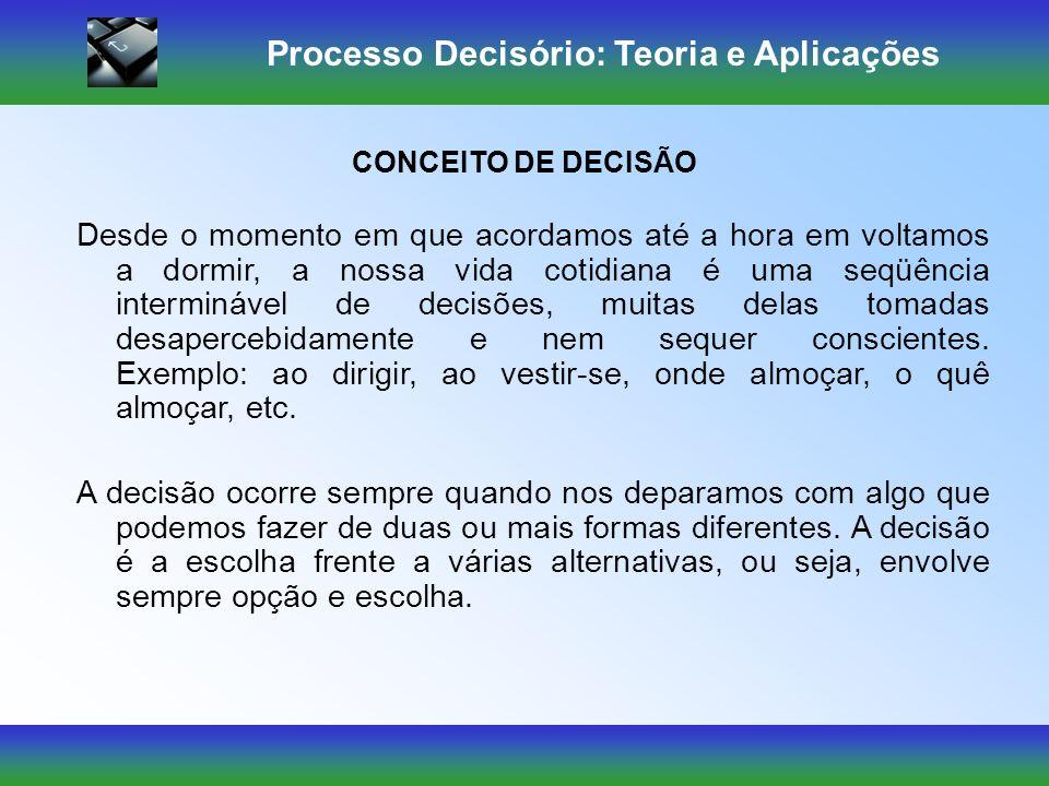 Processo Decisório: Teoria e Aplicações ELEMENTOS DO PROCESSO DECISÓRIO: O estado da natureza: condições de incerteza, riscos e certeza existentes no ambiente.