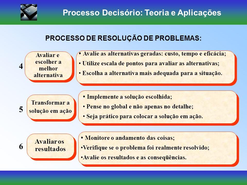 Processo Decisório: Teoria e Aplicações Identificar a situação Identificar a situação 1 Obter informação Obter informação 2 Quais os subproblemas ou a