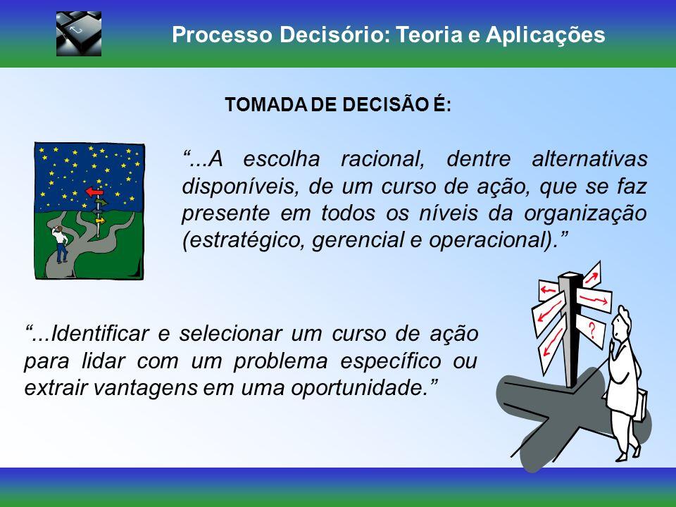 Processo Decisório: Teoria e Aplicações Mas cada decisão geralmente conduz a um curso de ação que exige outra decisão e assim por diante, até chegar ao objetivo proposto.