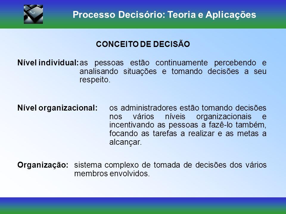 Processo Decisório: Teoria e Aplicações Nível individual:as pessoas estão continuamente percebendo e analisando situações e tomando decisões a seu respeito.