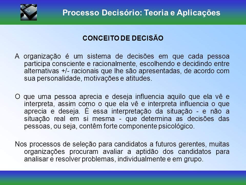 Processo Decisório: Teoria e Aplicações Baseadas em dados inadequados; Baseadas em dados únicos e novos; Tomadas em condições dinâmicas e mutáveis; Sob condição de imprevisibilidade; Baseadas na incerteza; Devem ser tomadas sob julgamento pessoal.