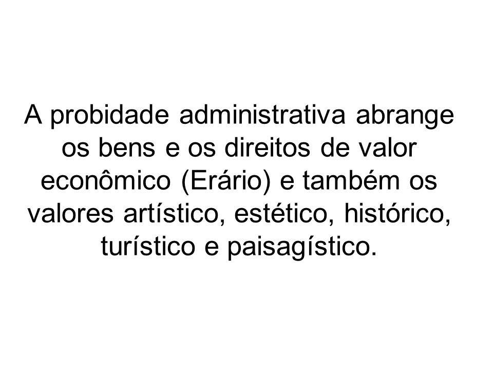 A probidade administrativa abrange os bens e os direitos de valor econômico (Erário) e também os valores artístico, estético, histórico, turístico e p