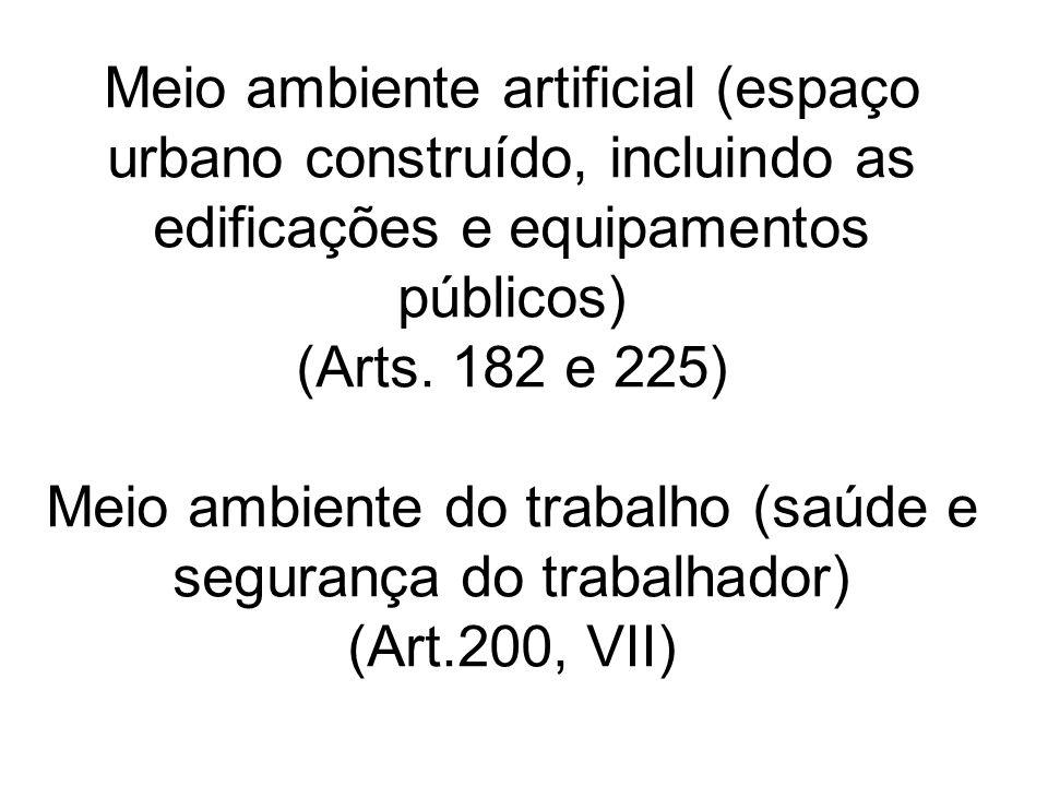 Meio ambiente artificial (espaço urbano construído, incluindo as edificações e equipamentos públicos) (Arts. 182 e 225) Meio ambiente do trabalho (saú