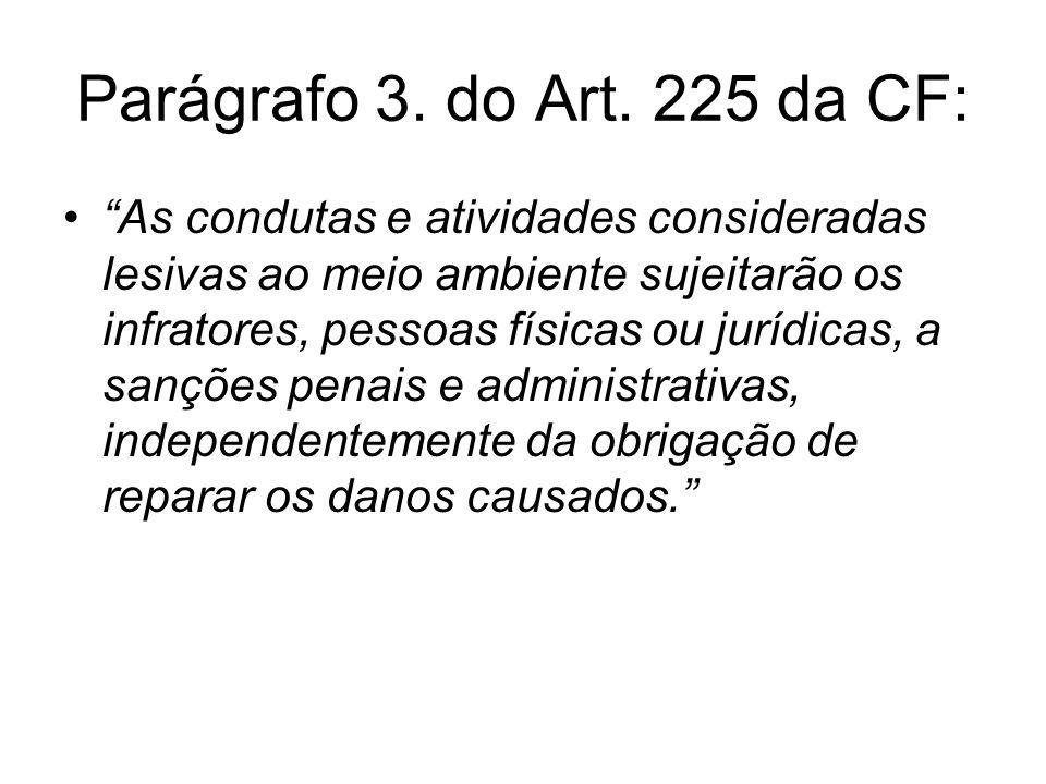 Parágrafo 3. do Art. 225 da CF: As condutas e atividades consideradas lesivas ao meio ambiente sujeitarão os infratores, pessoas físicas ou jurídicas,