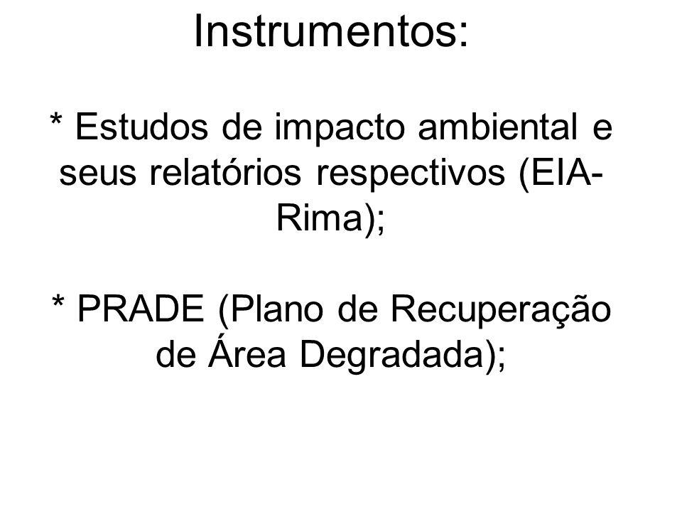 Instrumentos: * Estudos de impacto ambiental e seus relatórios respectivos (EIA- Rima); * PRADE (Plano de Recuperação de Área Degradada);
