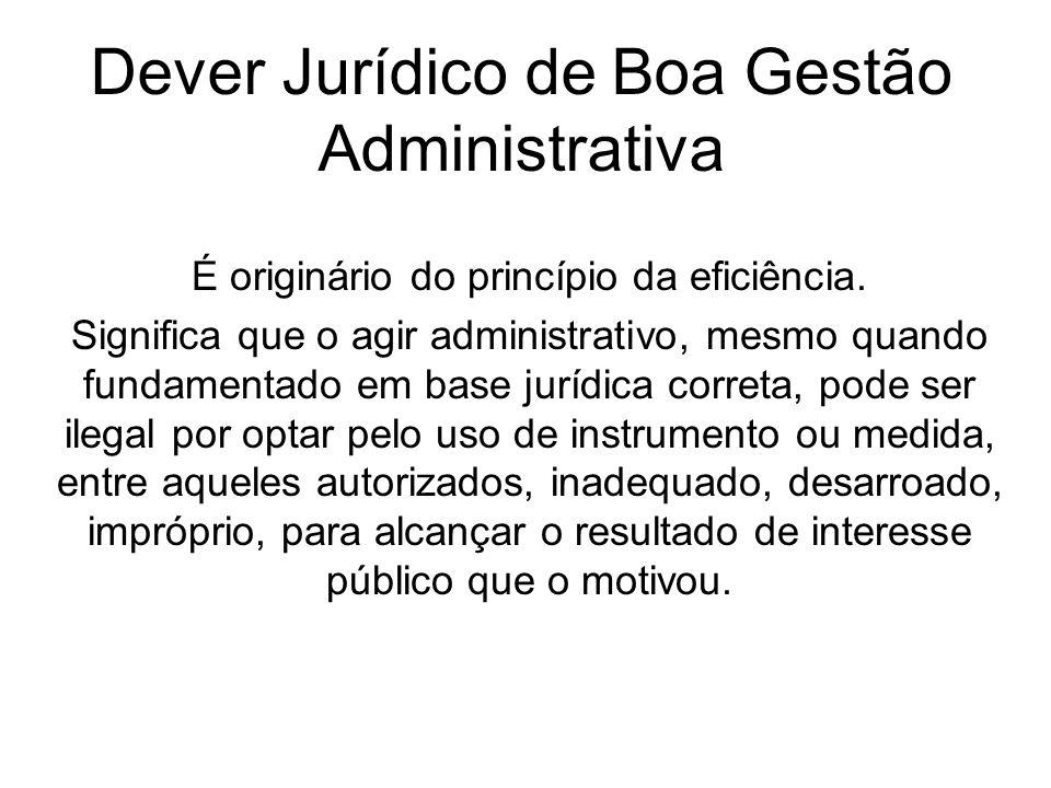 Dever Jurídico de Boa Gestão Administrativa É originário do princípio da eficiência. Significa que o agir administrativo, mesmo quando fundamentado em