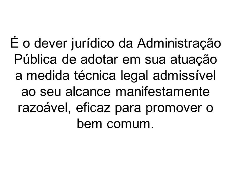 É o dever jurídico da Administração Pública de adotar em sua atuação a medida técnica legal admissível ao seu alcance manifestamente razoável, eficaz