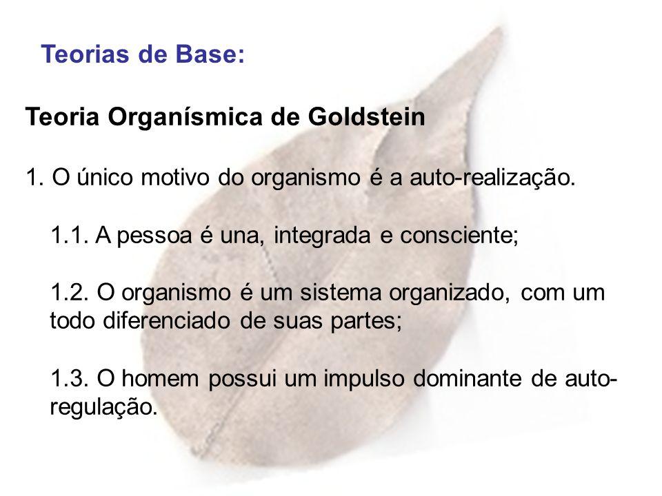 Teorias de Base: Teoria Organísmica de Goldstein 1. O único motivo do organismo é a auto-realização. 1.1. A pessoa é una, integrada e consciente; 1.2.