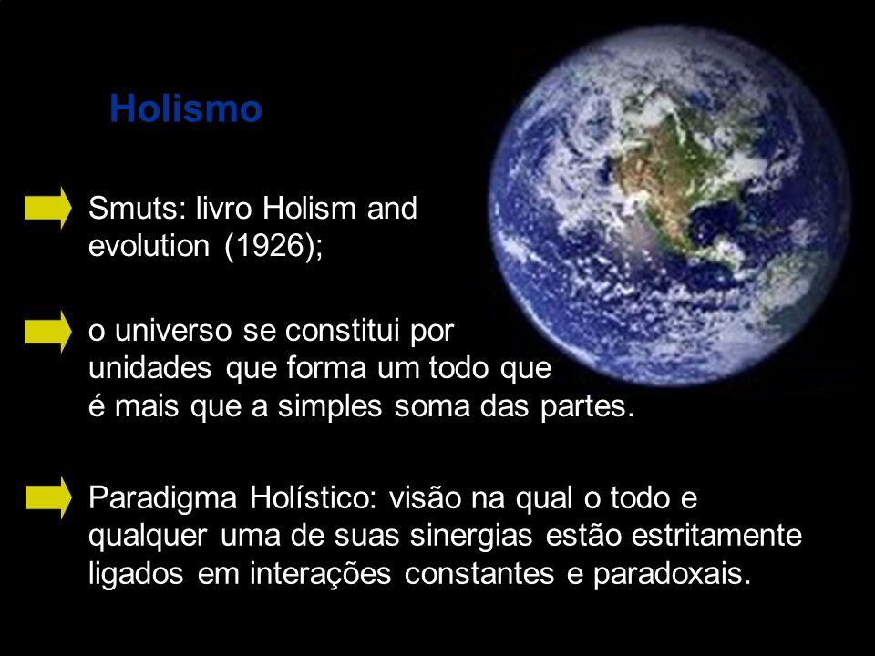 Holismo Smuts: livro Holism and evolution (1926); o universo se constitui por unidades que forma um todo que é mais que a simples soma das partes. Par