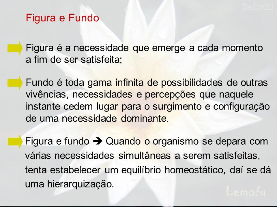 Figura é a necessidade que emerge a cada momento a fim de ser satisfeita; Figura e Fundo Fundo é toda gama infinita de possibilidades de outras vivênc