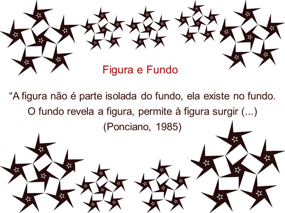 A figura não é parte isolada do fundo, ela existe no fundo. O fundo revela a figura, permite à figura surgir (...) (Ponciano, 1985) Figura e Fundo